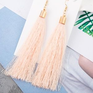 Long Pink Tassel Earrings with Gold Hardware